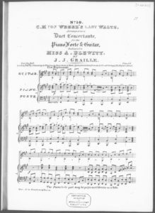 C. M. von Weber s last Waltz, arranged as a Duet Concertante for the Piano Forte  Guitar, etc