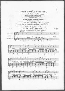 Come Dwell With Me, Ballad, sung by Mrs. Waylett, the Poetry by T. Haynes Bayly Esqr., arranged for the Spanish Guitar