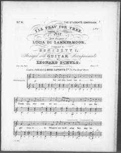 I ll Pray for Thee. Air from the opera Lucia di Lammermoor, arranged with Guitar accompaniment No. 4 of The Student s Companion