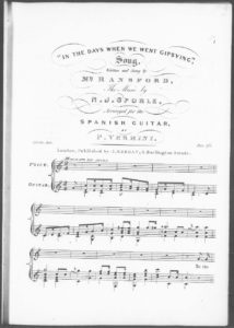 In the Days When We Went Gipsying, Song, written and sung by Me. Ransford, arranged for the Spanish Guitar