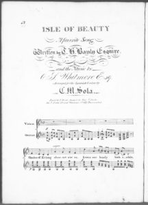 Isle of Beauty. A Favorite Song. Written by T. H. Bayly, Esqr., Arranged for the Spanish Guitar