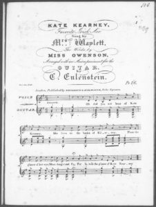 Kate Kearney, Favorite Irish Air, sung by Mrs. Waylett, the words by Miss Owenson, arranged with an accompaniment for the Guitar