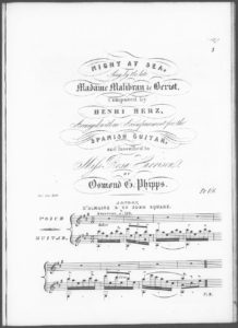 Night at Sea, Sung by the late Madame Malibran de Beriot, Arranged with an Accompaniment for the Spanish Guitar