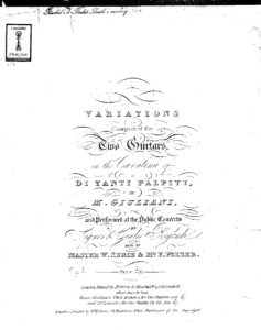 Op. 1 Variations composed for two guitars on the cavatina of Di tanti palpiti