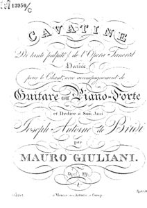 Op. 79 Cavatina Di tanti palpiti (voice and guitar or piano)