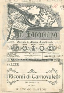 Ricordi di Carnovale for two mandolins mandola guitar