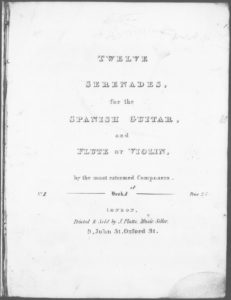 Sérénade from Twelve Serenades for the Spanish Guitar and Flute or Violin by the most esteemed cpmposers. Book 1. No. 1 Op. 21