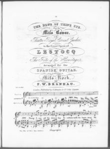The Blue of Thine Eyes, sung by Miss Cawse at the Theatre Royal, Covent Garden