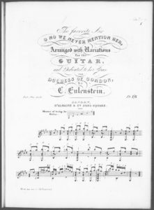 The Favorite Air O No We Never Mention Her by H. R. Bishop arranged with Variations for the Guitar
