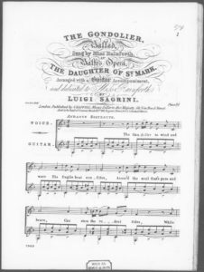 The Gondolier  Ballad in Balfe s Opera The Daughter of St. Mark