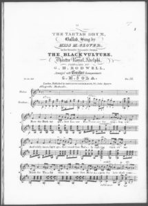 The Tartar Drum, Ballad, sung by Miss M. Glover, in the favorite Romantic Drama of The Black Vulture, at the Theatre Royal, Adelphi, arranged with Guitar Accompaniment