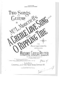 Two songs for guitar a creole love song o rippling tide