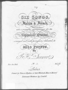 Zéphir No. 4 from Six Songs, Italian  French, with a progressive accompaniment for the Spanish Guitar