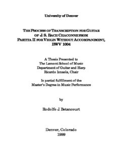 Chaconne Thesis