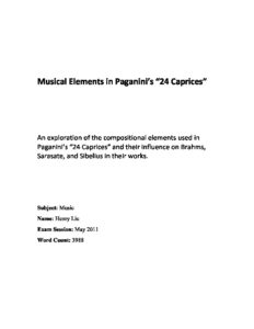 Musical Elements in Paganini s 24 Caprices