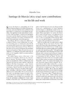 Santiago de Murcia New Contributions on his life and work