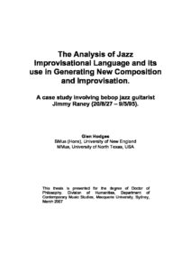 The Analysis of Jazz Improvisational Language and its use in Generating New Composition and Improvisation