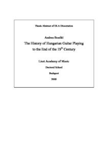 The History of Hungarian Guitar Playing