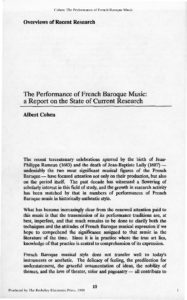 The Performance of French Baroque Music